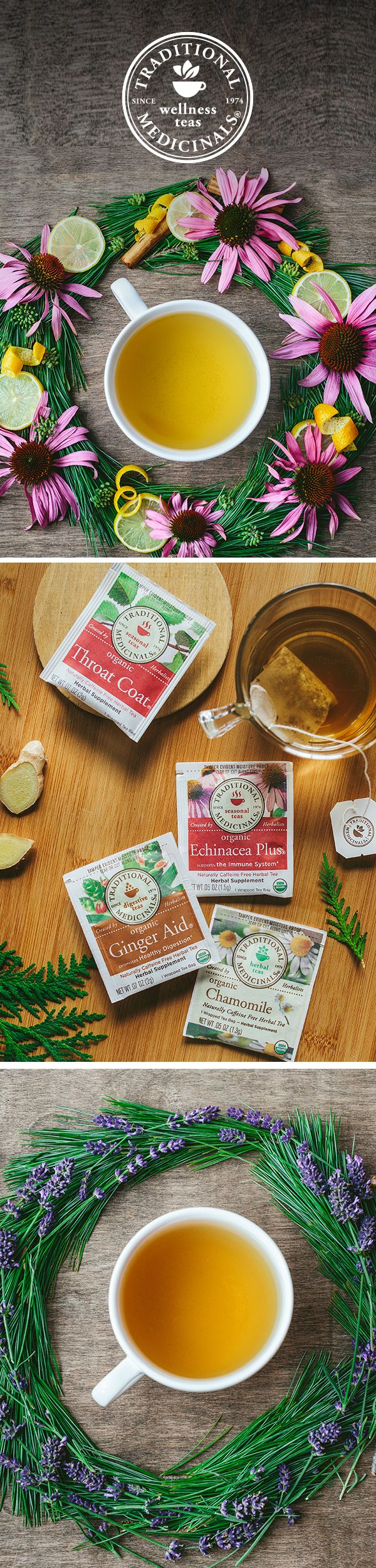 Nestling in for winter? Herbal teas make for cozy companions during one of the busiest and most taxing seasons. Our herbalists created Throat Coat, which is made with slippery elm to support seasonal wellness, Echinacea Plus to help boost your immune system and calming Chamomile with Lavender to settle nerves. No matter what's in the forecast, there's a Traditional Medicinals tea to help you weather winter.