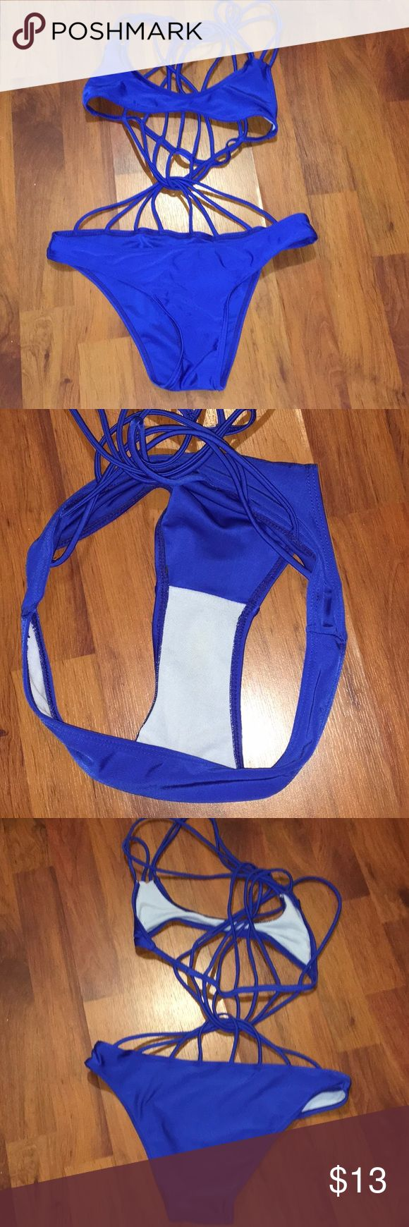 Blue strapped back bikini NOT ACTUALLY MIKOH. TAGGED THE BRAND FOR EXPOSURE. I purchased it from a random website!! Super cute fits sizes extra small to small. PRICE IS DEFINITELY NEGOTIABLE Swim Bikinis