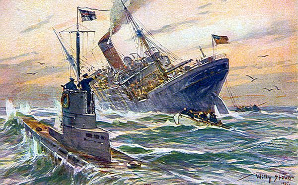 THIS DAY IN WWI: FEB 10,1916 - German Government Warns America that Armed Merchantmen will be Sunk. Pictured - A Willy Stower painting of a U-boat sinking an American ship.