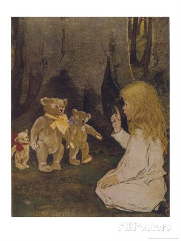 Goldilocks Gives Three Teddy Bears a Talking-To Stampa giclée di Jessie Willcox-Smith su AllPosters.it