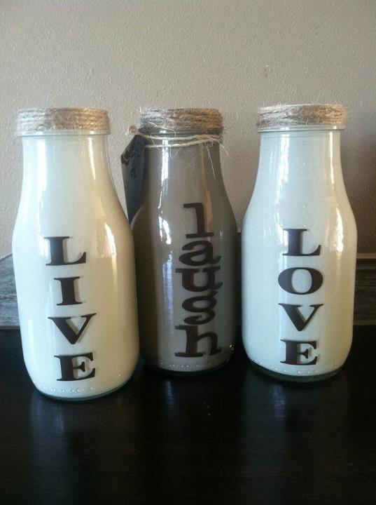 Painted Starbucks bottles to look like milk bottles. Vinyl lettering and jute