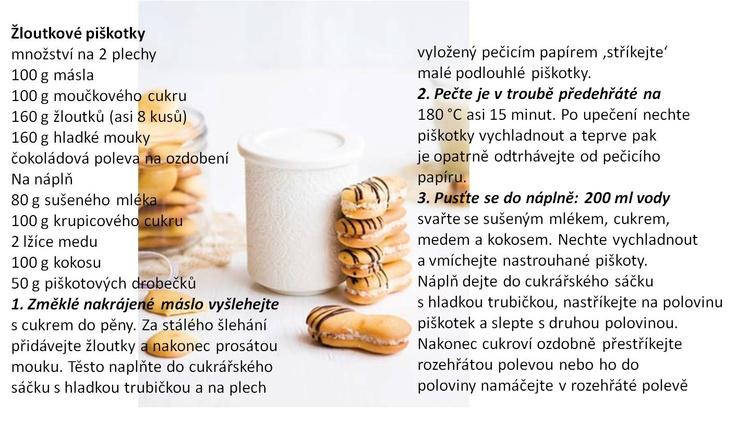 Žĺtkové piškóty plnené kokosom, medom a sušeným mliekom