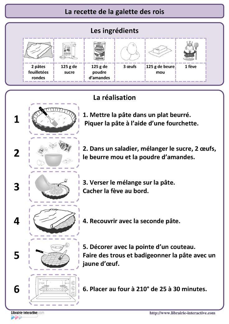 Une recette simple de la galette des rois, plusieurs affiches et des documents pédagogiques pour l'exploiter en maternelle (PS MS et GS) et au cycle 2 (CP et CE1)