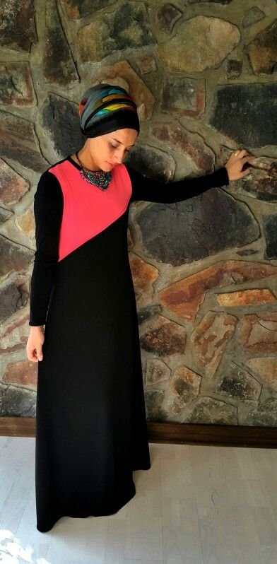 Two tone dress abaya in contrasting coral and black