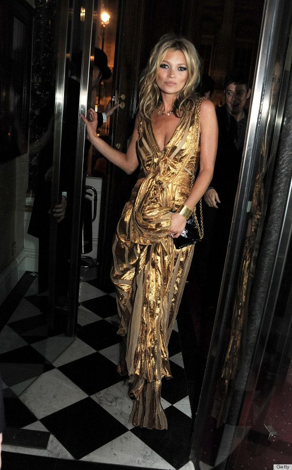 Kate Moss gold maxi dress