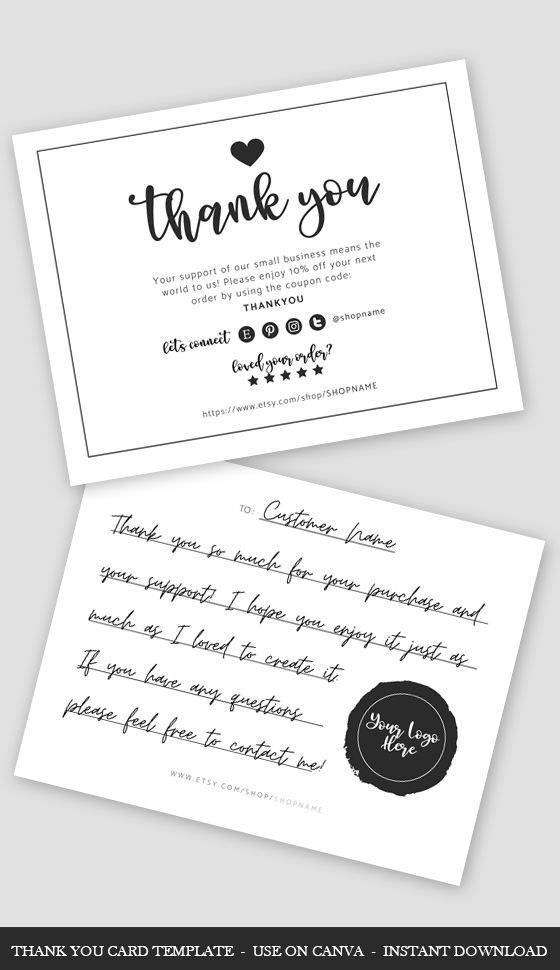Thank You Card Template Canva Simple Business Card Template Etsy Simple Business Cards Card Template Thank You Card Template