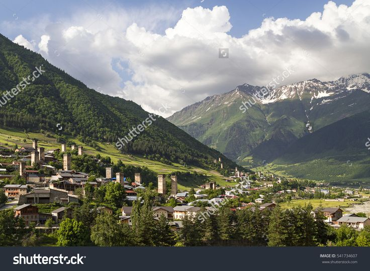 View over the town of Mestia in the Caucasus Mountains, Georgia.