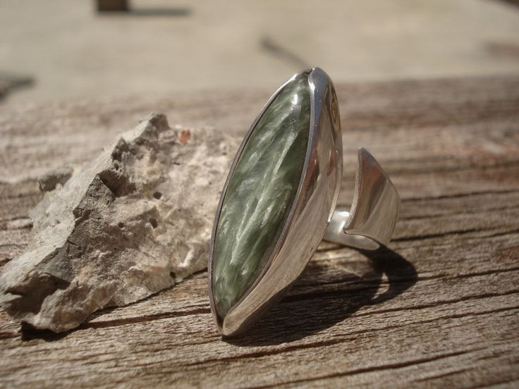 Ring, sterling silver 950/1000, seraphinite