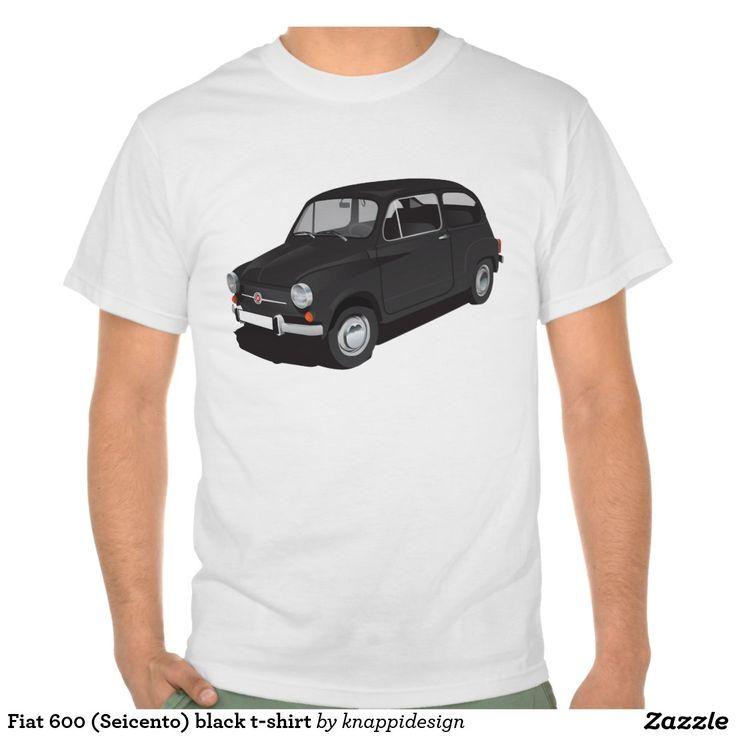 Fiat 600 (Seicento) black t-shirt  #fiat #fiat600 #seicento #tshirt #tshirts #tpaita #troja #skjorta #italy #automobile #bilar #auto #classic #vintage #black