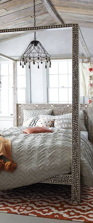 beautiful bone inlay four poster bed . This room is done so well. Everything.