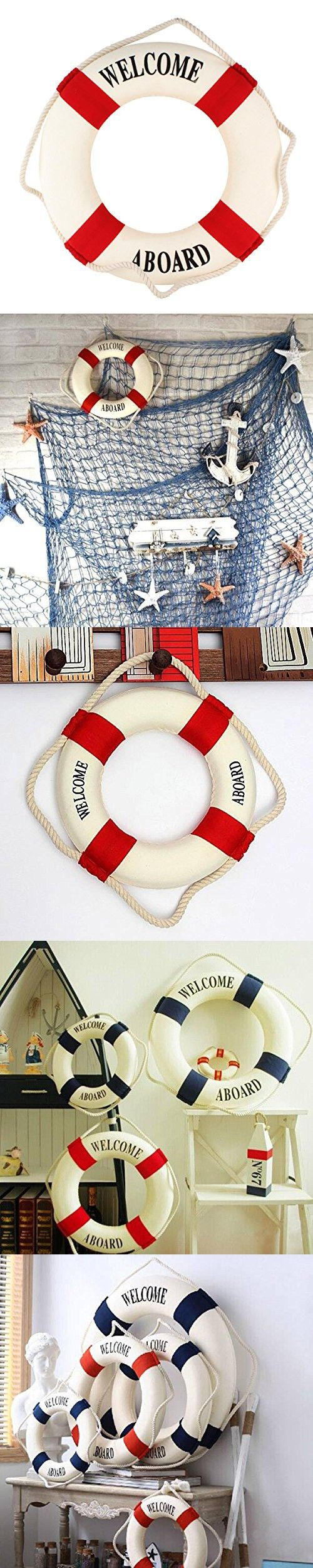 UniqueBella Foam Welcome Aboard Nautical Decor Lifebuoy Ring Wall Hanging Home Decoration Red Band Diameter 17.5 inches(45cm)