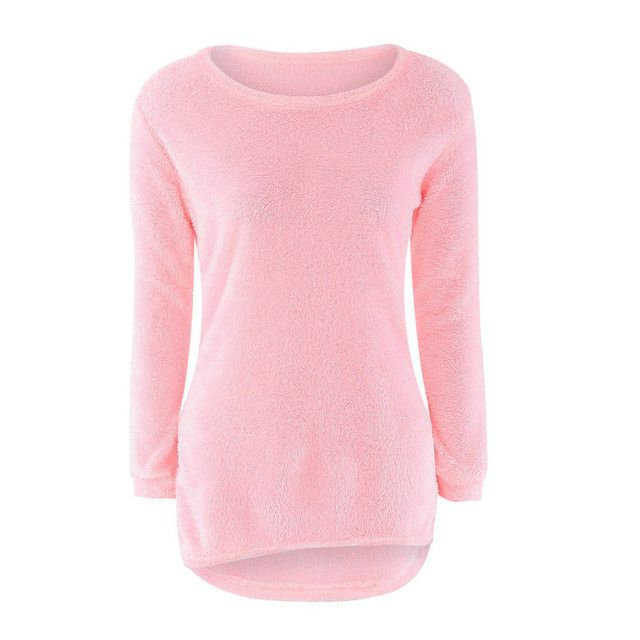 3 Colors Autumn Winter Womens Casual Solid Long Sleeve Fleece Sweaters Soft Warm Knitted Pullovers Lady Camisola Sep30