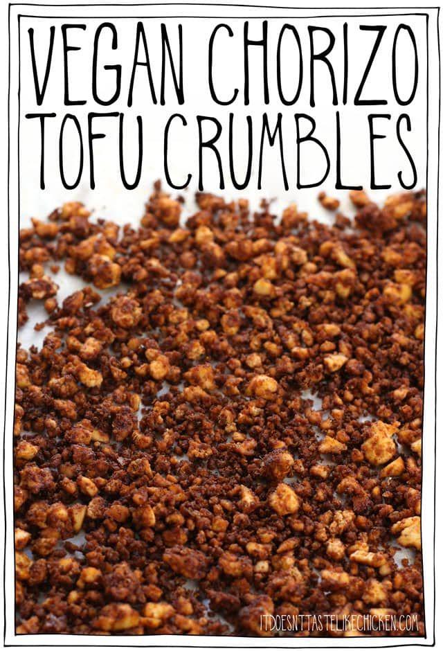 Veganer Chorizo-Tofu zerbröckelt! Einfach zu machen und kann im Voraus vorbereitet werden, …