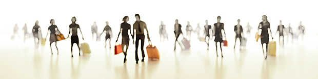 Joerg Maxzin, Travelling II, 2011 / 2012 © www.lumas.com/  #Abstract #Airport #Airports #beige #blurred #fuzzy #graphic #Journey #Journeys #LastPrints #orange #Panorama #Panoramas #People #Photography #Silhouette #Silhouettes #Suitcase #Suitcases #Lumas #LiberationOfArt