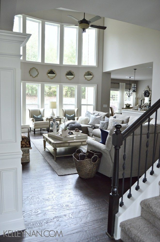 Kelley Nan: Fall Home Tour- Two story great room in gray and fur with two story windows