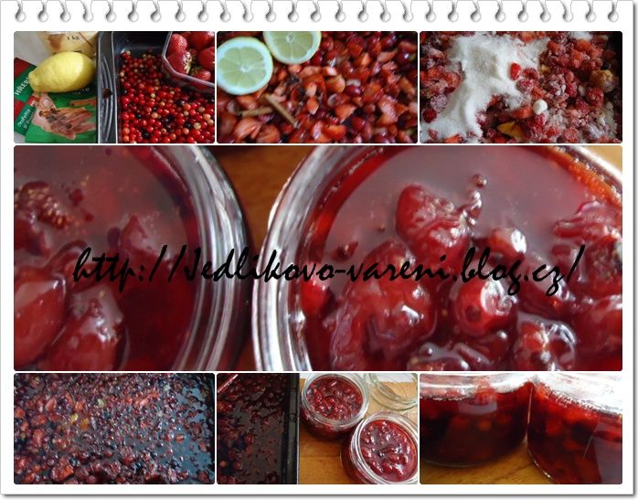 Jedlíkovo vaření: Pečený ovocný čaj 1 kg ovoce ( já jsem tentokrát použila směs: zmražený rybíz, čerstvé ostružiny, borůvky, broskve a letní jablíčka) 750 g krystal cukru šťávu z 1 citronu 3 kousky skořice a 2 lžíce rumu, které přidáme až na samý konec