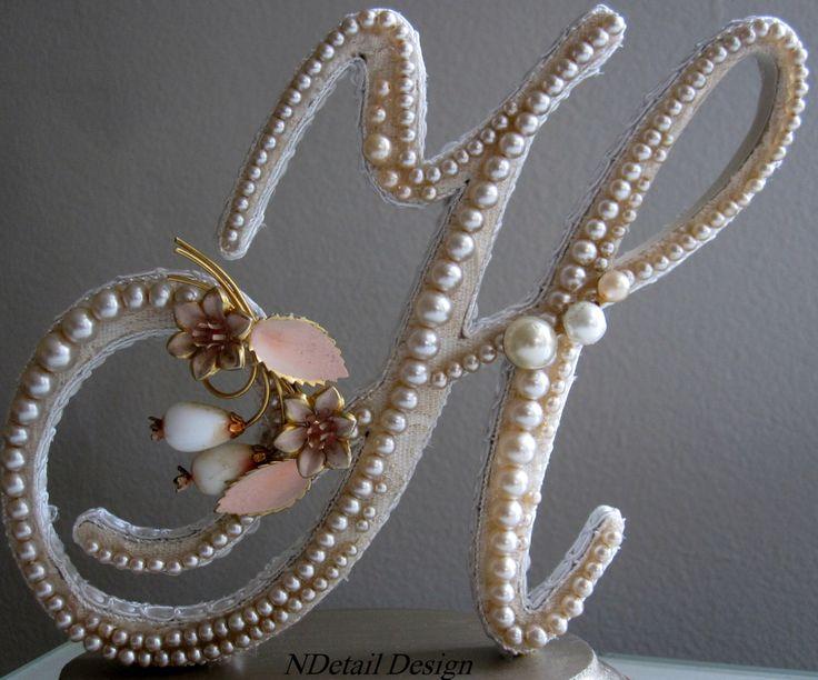 Wedding Cake Topper Custom Monogram Letter H Vintage Ivory Pearls With Gold Amp Blush Flower