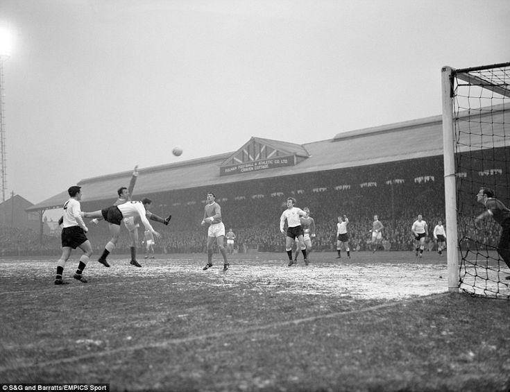 This fine winter football scene sees Fulham take on Manchester United at Craven Cottage on Boxing Day in 1962. If you've been to the London ground recently, you'll see that it doesn't really look any different. Fulham's Alan Mullery and United's Nobby Stiles battle for the ball here, with Matt Busby's men going home with a 1-0 win