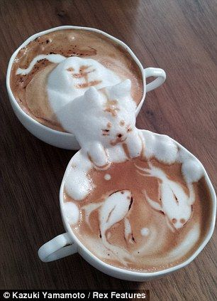 "Kazuki Yamamoto's coffee sculptures. ""Some sculptures, such as this cat watching fish in a pond, spread over two cups."""