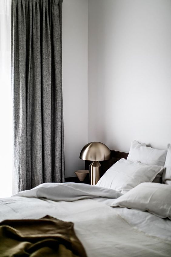 save for later! bedroom styling done right | linen bedsheets | grey linen curtains