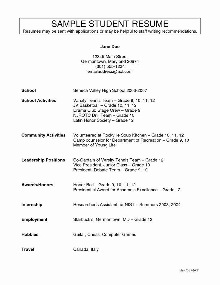Activities resume template inspirational high school