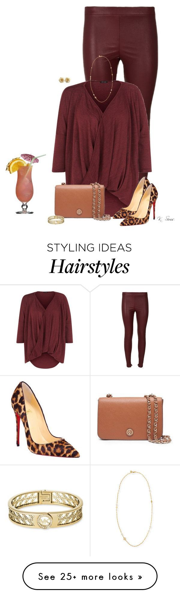 """""""Drinks, anyone?"""" by ksims-1 on Polyvore featuring Vince, Christian Louboutin, Tory Burch and Michael Kors"""