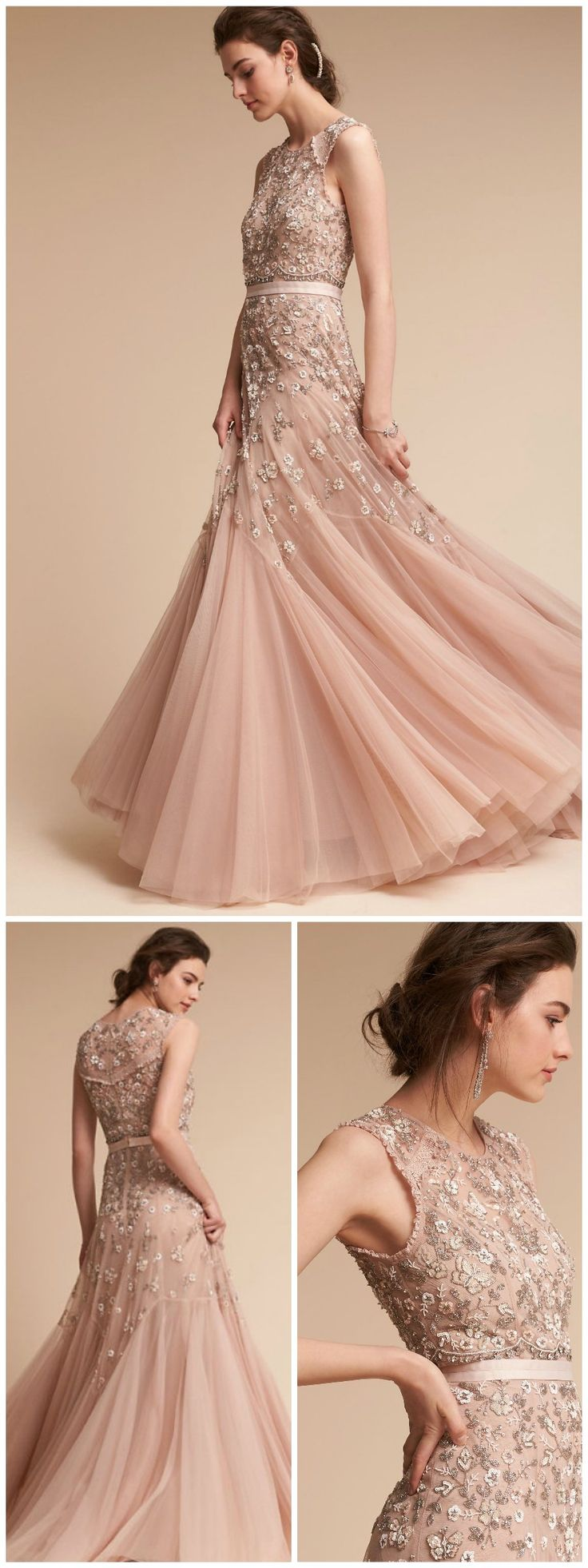 Blush Floral Wedding Dress