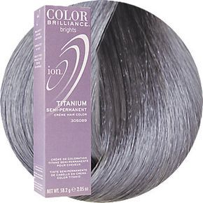 Ion Color Brilliance Brights Semi-Permanent Hair Color Titanium. I use this to add extra pizazz to my grey/silver hair.