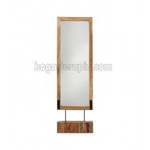 Espejo de pie rectangular banang de madera de teca for Espejo rectangular grande