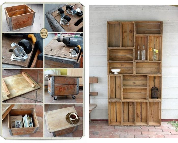 17 best images about champagne box idea on pinterest crates apple crates and crate shelves - Cassette di legno decorate ...