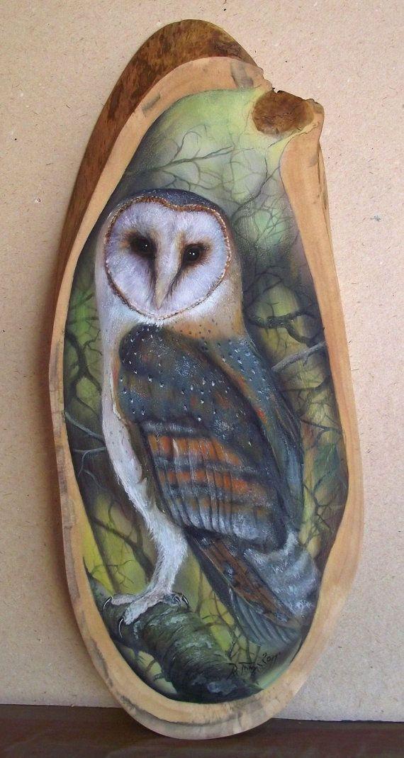 Barn owl painted on wood Pinned by www.myowlbarn.com