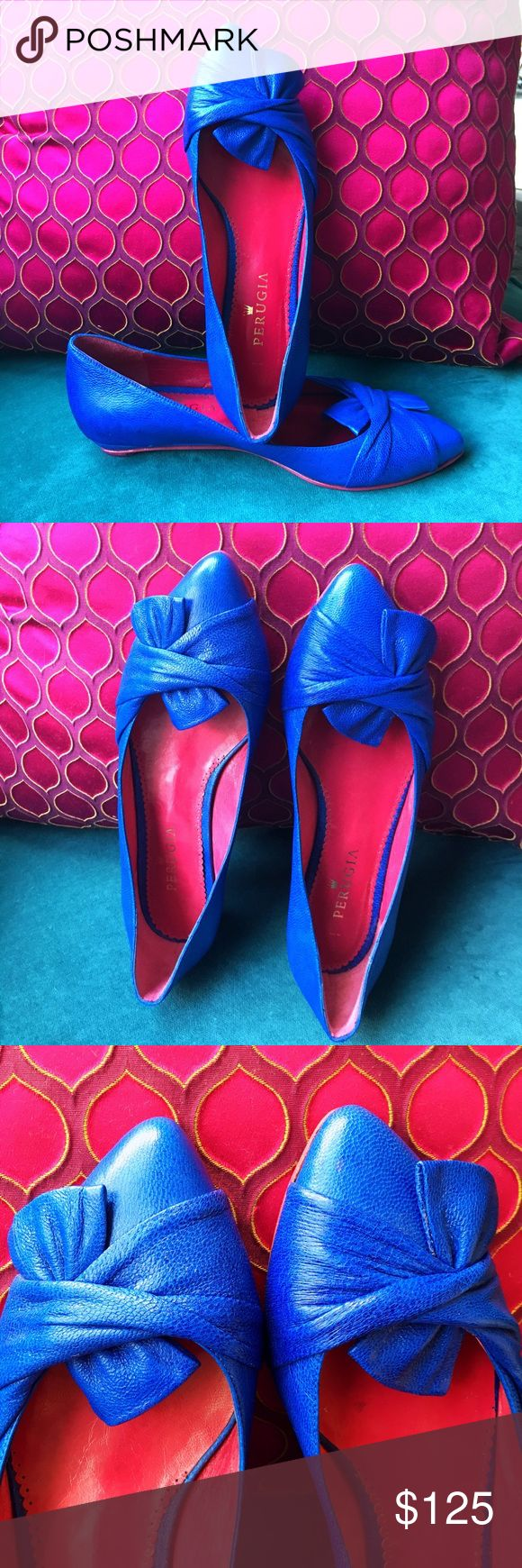 PERUGIA Electric Blue Hand Crafted Flats Never worn🔹 Purchased in Argentina🔹 Handcrafted gorgeous modern design🔹 Sheepskin and cowhide🔹 in the most stunning blue with hot pink bottoms and interior.🔹 Perugia Shoes