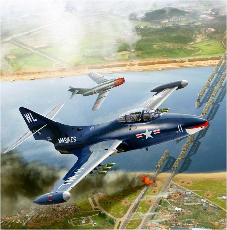F9F-5 Panther Se Enfrenta A Un MiG-15 Coreano Que Defiende