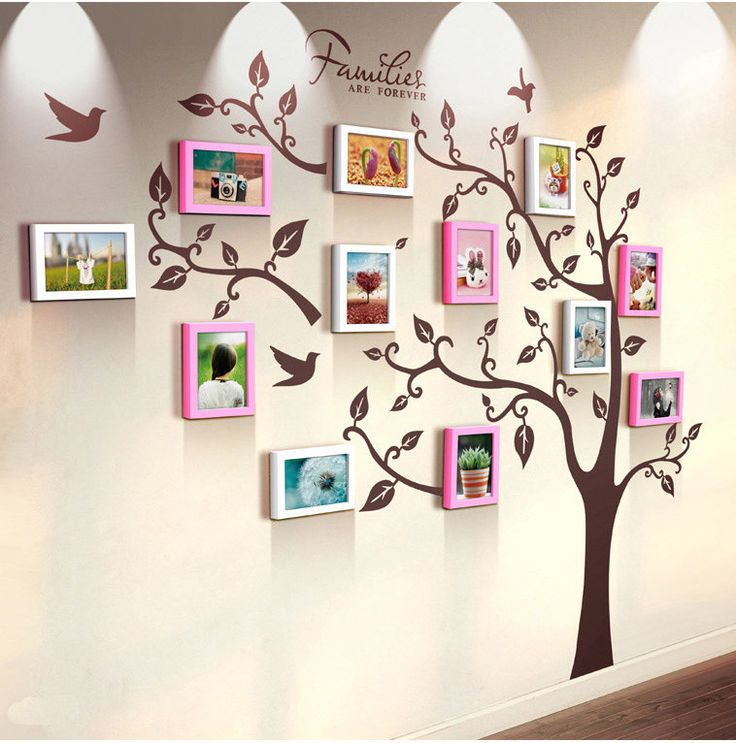 Unique family tree photo frame and decal