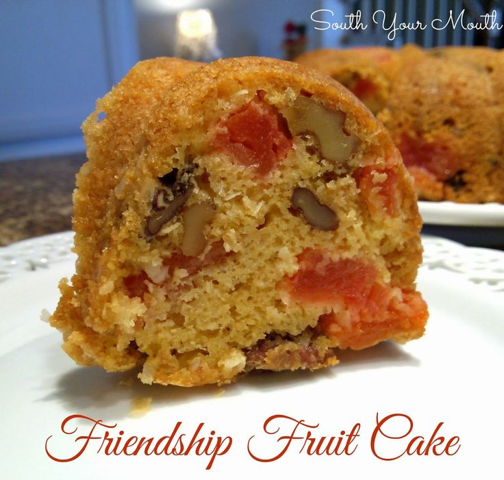 Friendship Fruit Cake - plus Starter Recipe. Moist and airy cake with bits of tender fruit.