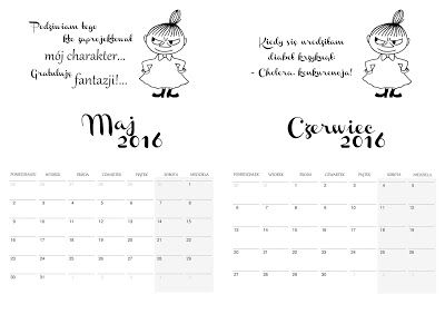 Rozaneczka: Kalendarz 2016 - Mała Mi | kalendarz, calendar, planner, organizer, do druku, free, printable