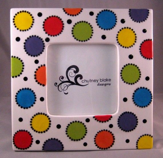 Bright Polka Dots Frame by chutneyblakedesigns on Etsy, $29.50