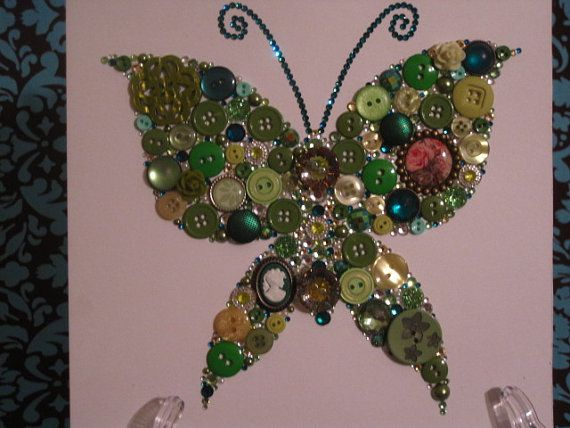 Swarovski Crystal and Button Art: Butterfly