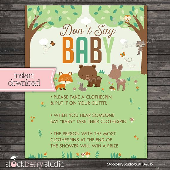 Woodland Don T Say Baby Shower Game Sign By