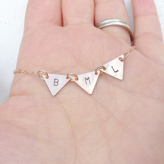 Triangle Bunting Necklace Rosegold Pennant by CamileeDesigns