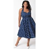 Hell Bunny Plus Size Navy & White Anchor Dotted Marina Halter Swing Dress - Plus Size - Dresses - Clothing  | Unique Vintage