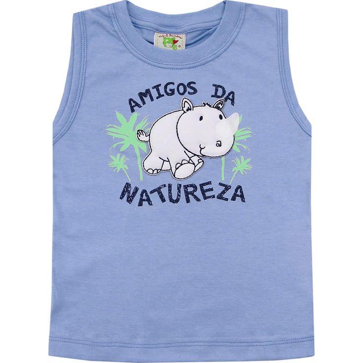 Camiseta Regata Infantil Masculina com Bordado Azul - Nini & Bambini :: 764 Kids | Roupa bebê e infantil