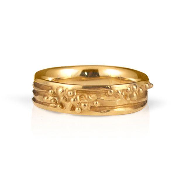 Organic Wedding Band    Organic'Ribbon'ring,14kyellowgold wedding band.5mm wide$995       $995