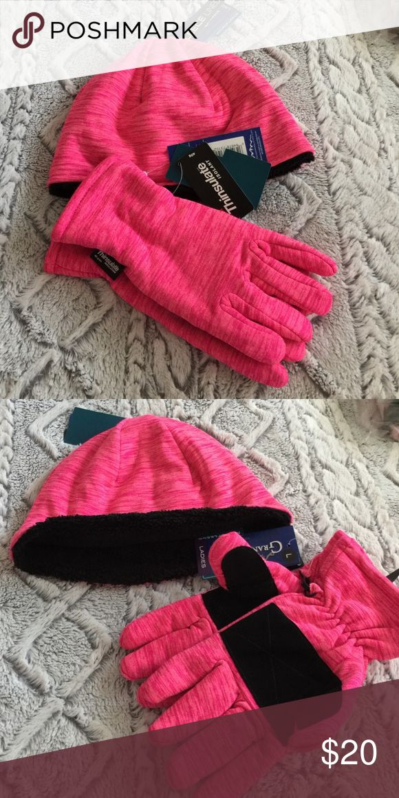 Ladies Hat And Gloves Cute cold weather gear for the ladies. Fleece lined beanie and thinsulate gloves. So soft and warm 😌 Grand Sierra Accessories