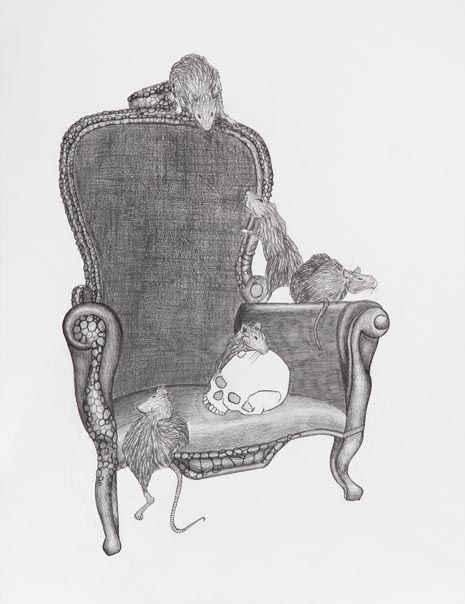 """Peerdeman's work titled """"Raw"""" presents a prime example of the artist's masterful figuration. The figure of power and authority is only implied in a symbolic manner through the depiction of a throne, while the dark and sinister aspect of the thematic connotation becomes apparent through the presence of the omnivorous pests."""