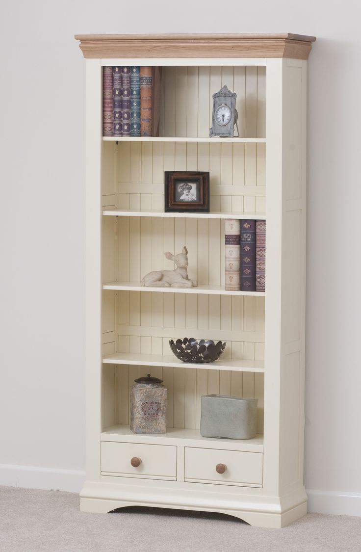 Country cottage painted funiture cabinet cream large for Living room bookshelf