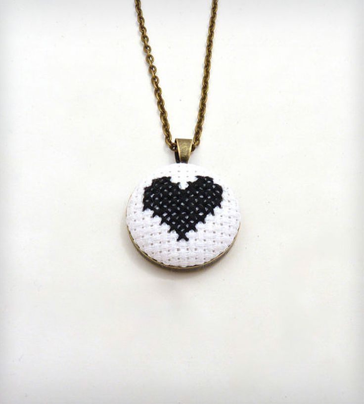 Black and White Cross Stitched Heart Necklace//