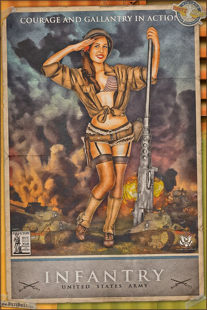 Today's pinup is another in the WW2 Propaganda Pinup Poster Series featuring Victoria! From women in the military to the different jobs you can have, these propaganda posers glamorized these jobs painted by WW2 artist Jes Schlaikjer. Here, Victoria showcases the US Army Infantry which were the ground-pounding backbone of the US Army bringing the lines further in favor of the allies. © Dietz Dolls: http://www.dietzdolls.com | Facebook: https://www.facebook.com/MomentsCapture
