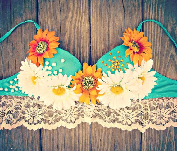 Sunflower Daisy Rave Bra by TheLoveShackk on Etsy