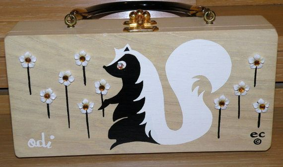 Enid Collins Odi the Skunk Wooden Box PurseBoxes Purses, Wooden Boxes